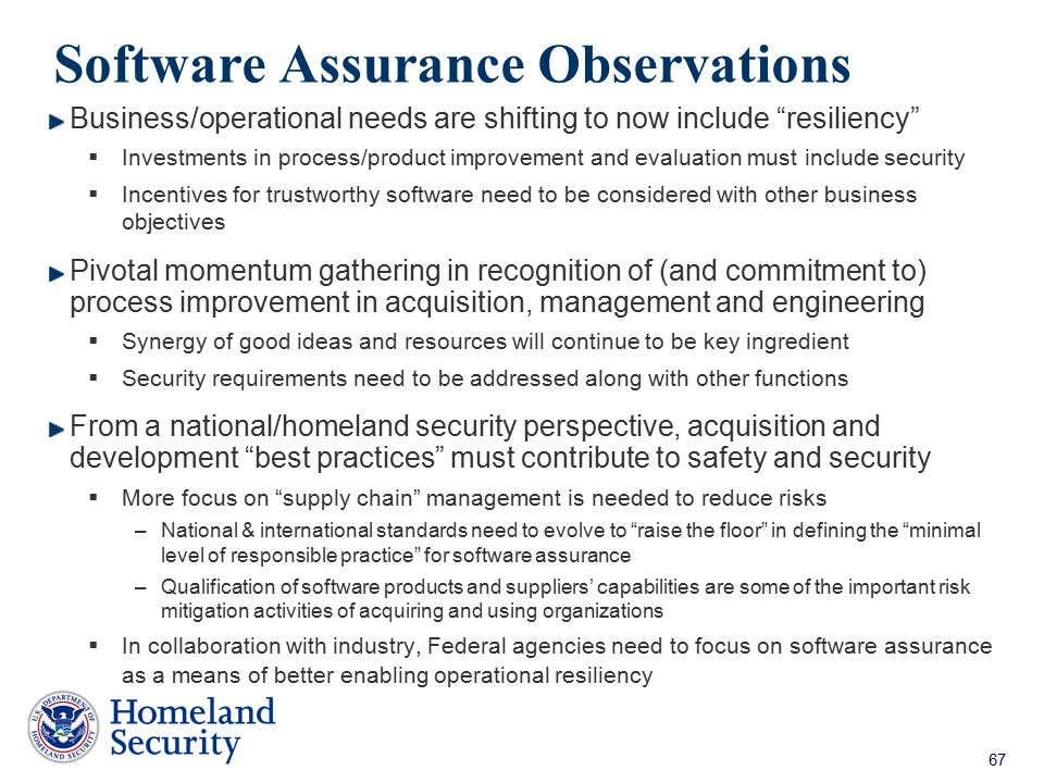 Software Assurance Observations