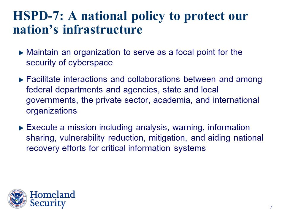 HSPD-7: A national policy to protect our nation's infrastructure