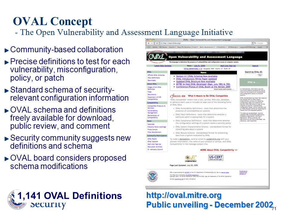 OVAL Concept - The Open Vulnerability and Assessment Language Initiative