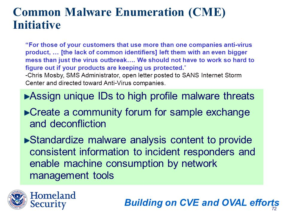 Common Malware Enumeration (CME) Initiative