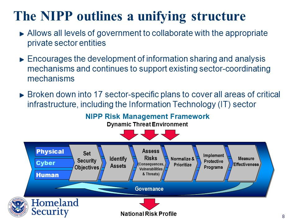 The NIPP outlines a unifying structure