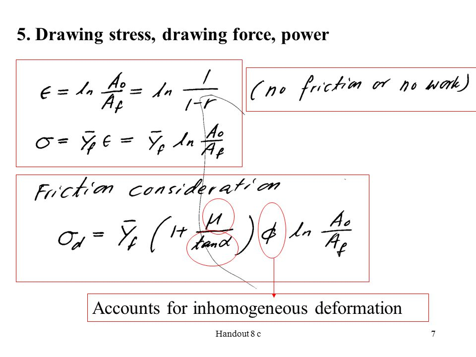 5. Drawing stress, drawing force, power