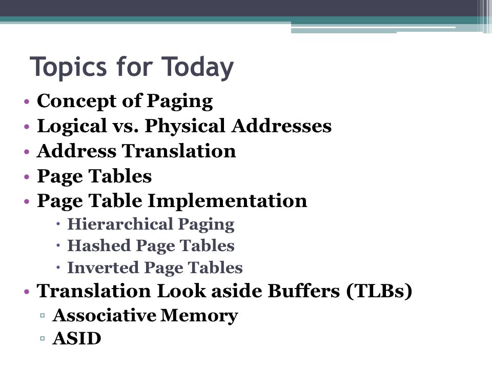 Topics for Today Concept of Paging Logical vs. Physical Addresses