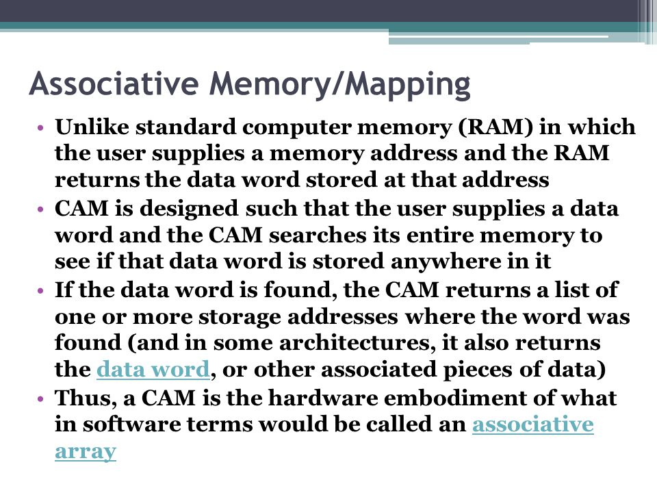 Associative Memory/Mapping