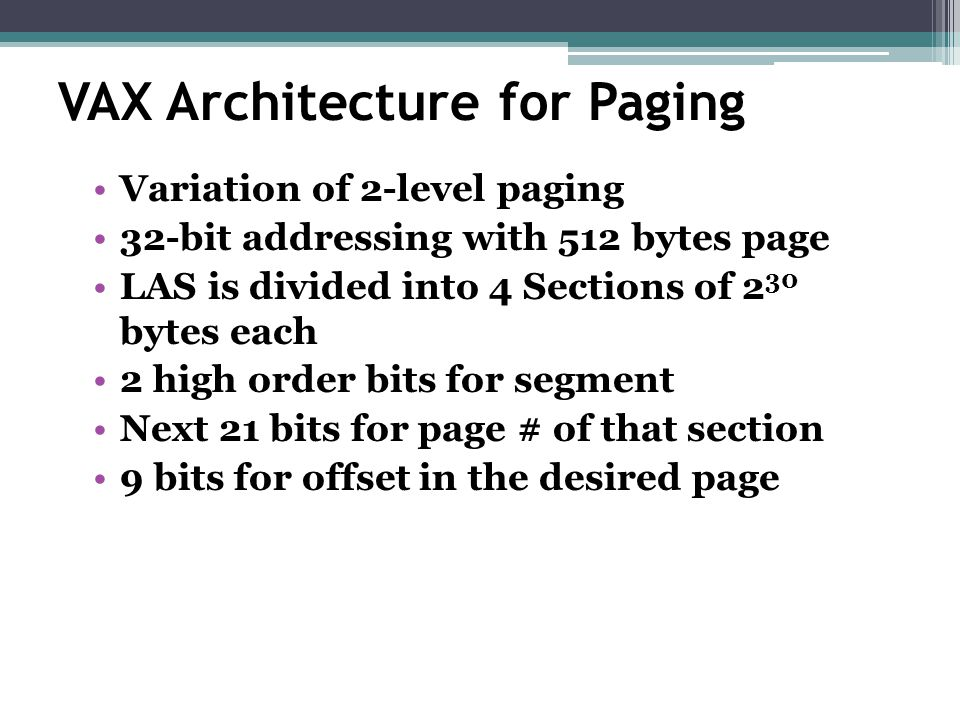 VAX Architecture for Paging