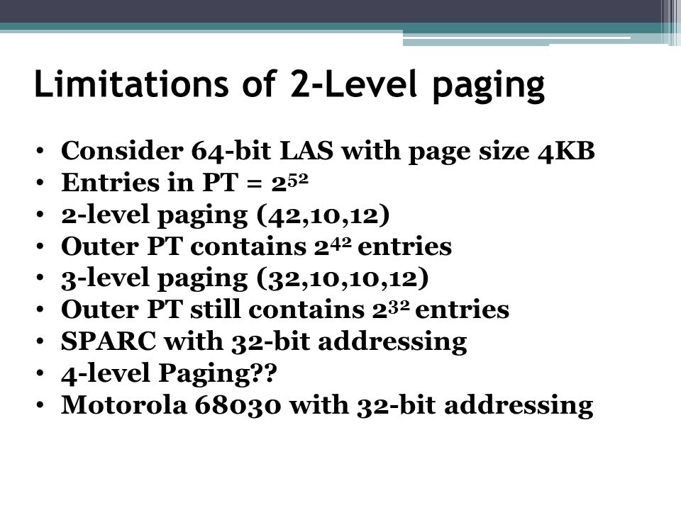 Limitations of 2-Level paging