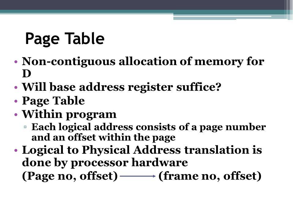 Page Table Non-contiguous allocation of memory for D