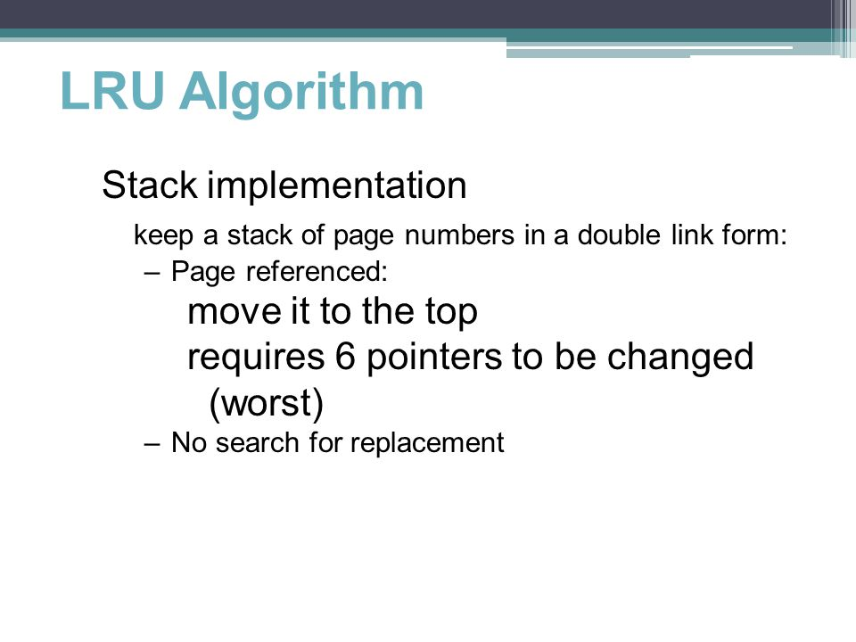 LRU Algorithm Stack implementation