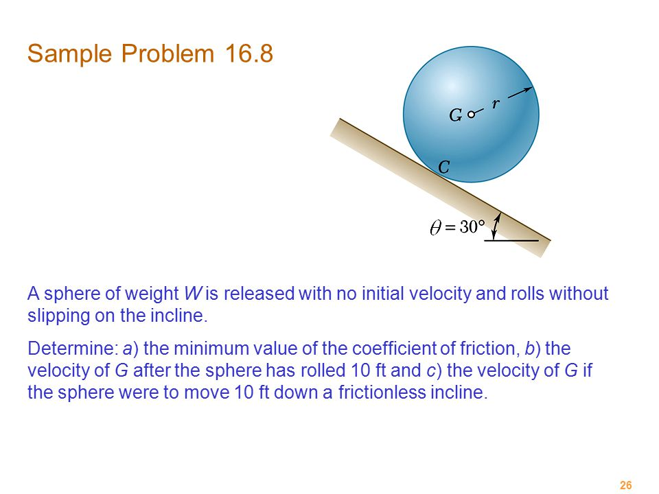 Sample Problem 16.8 A sphere of weight W is released with no initial velocity and rolls without slipping on the incline.