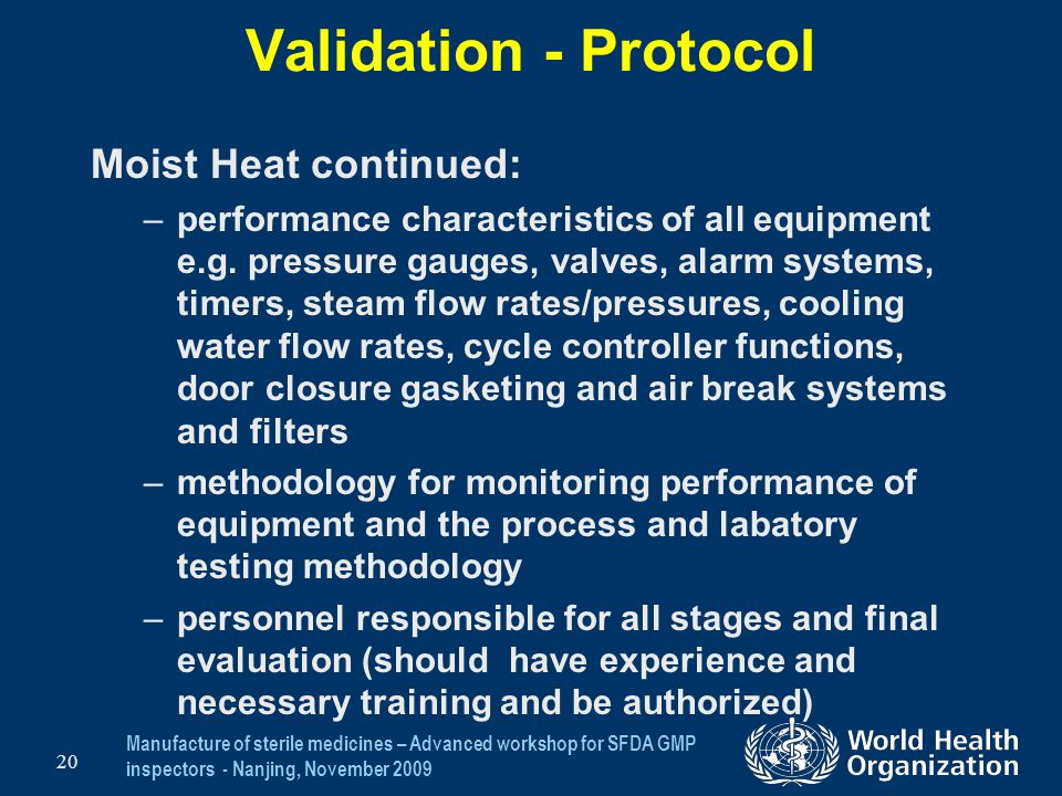 Validation - Protocol Moist Heat continued: