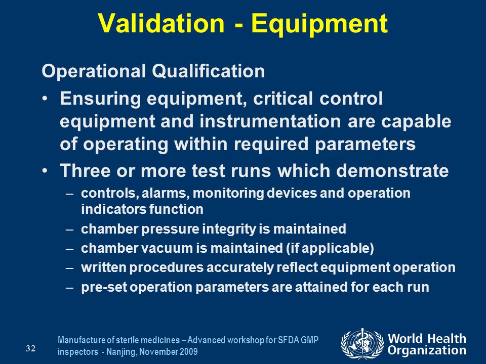 Validation - Equipment
