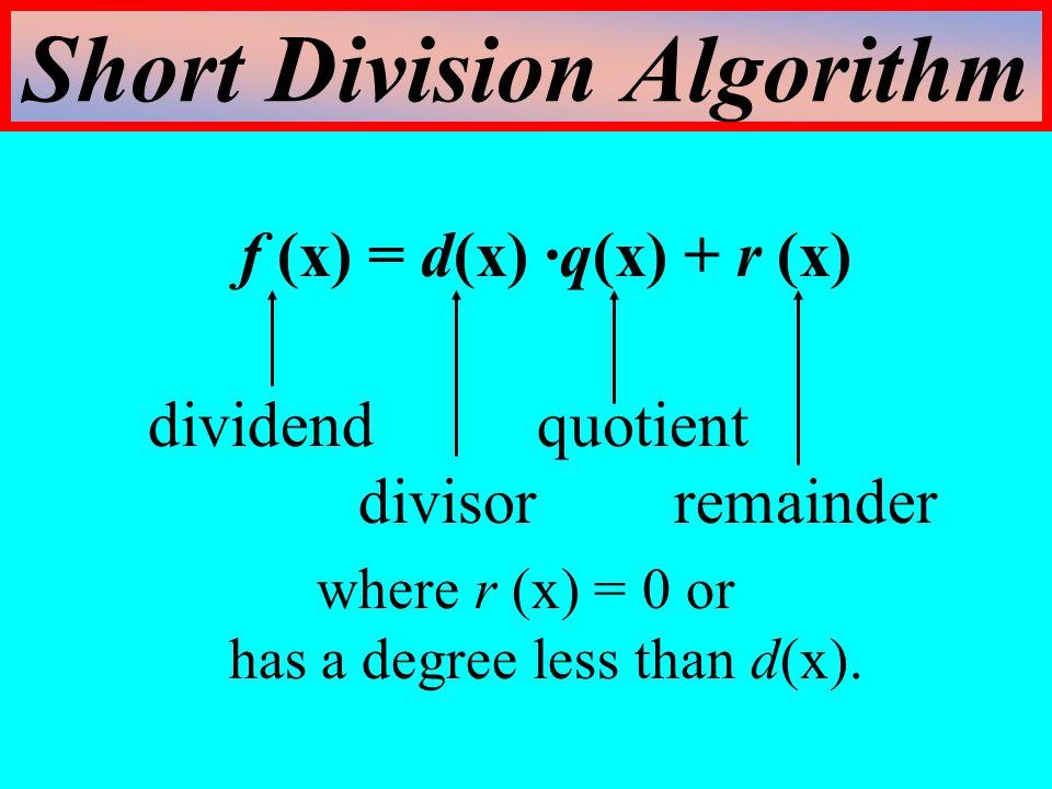Short Division Algorithm