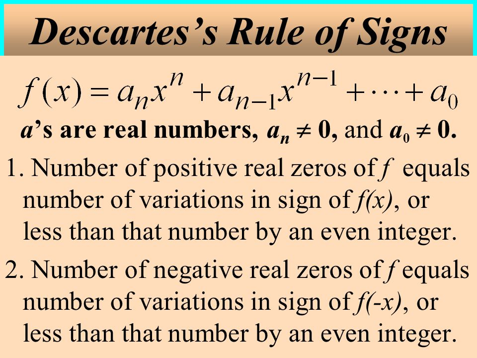 Descartes's Rule of Signs