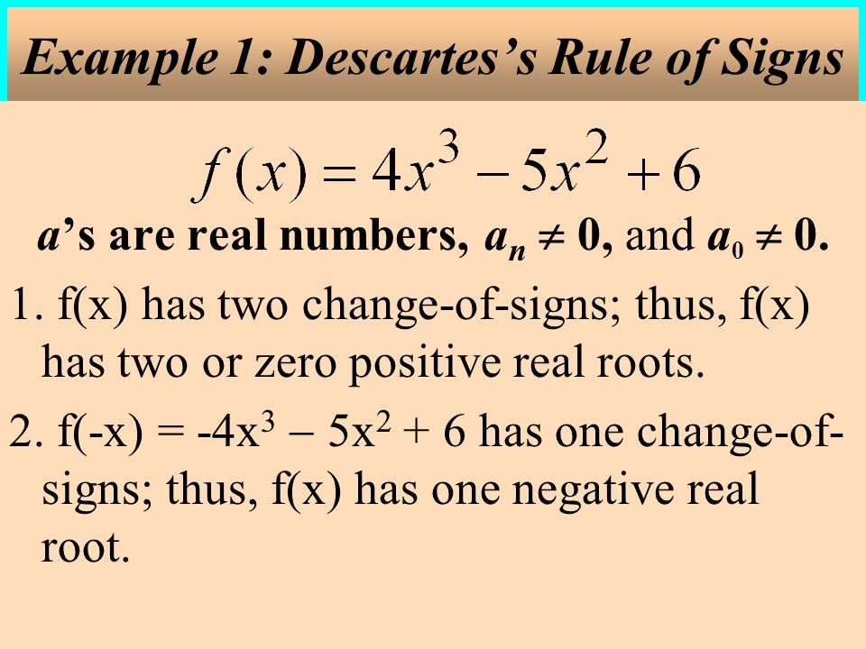Example 1: Descartes's Rule of Signs