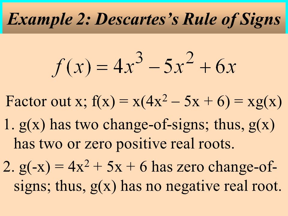 Example 2: Descartes's Rule of Signs