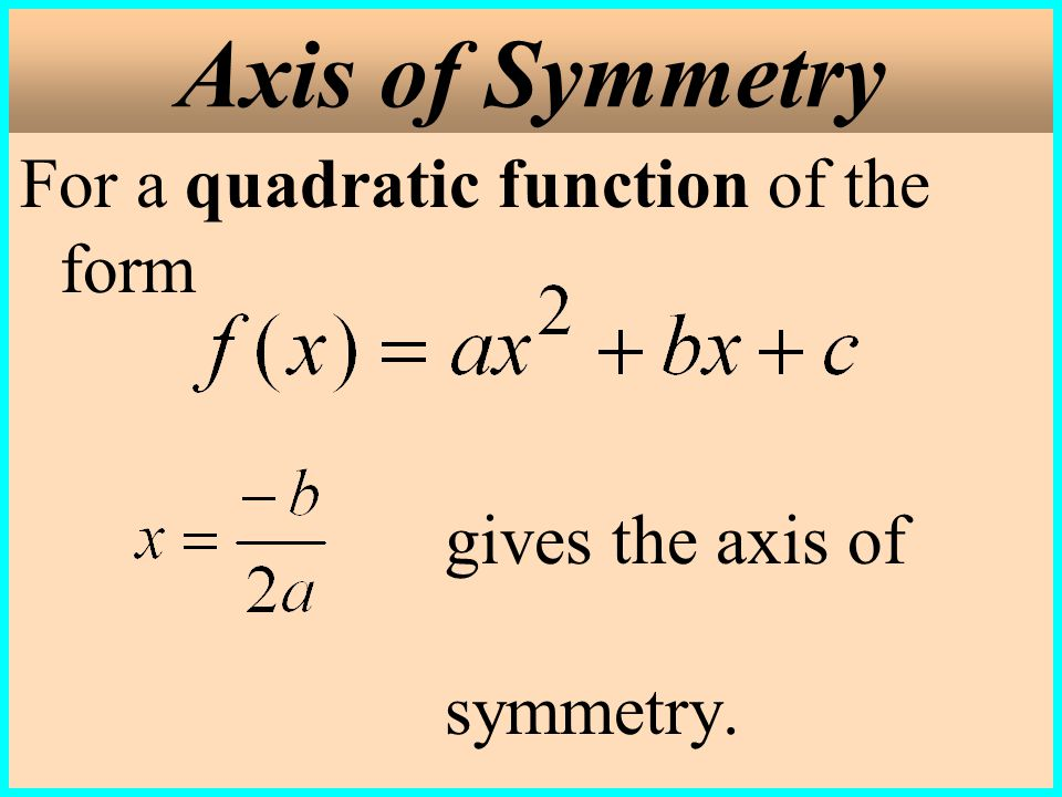 Axis of Symmetry For a quadratic function of the form