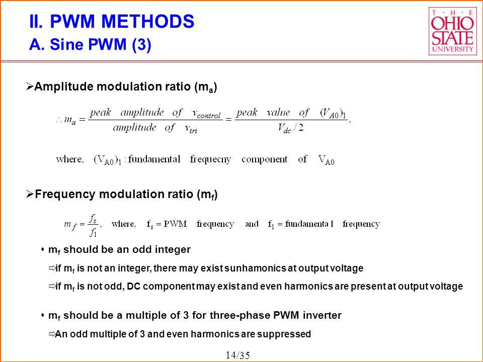 II. PWM METHODS A. Sine PWM (3) Amplitude modulation ratio (ma)