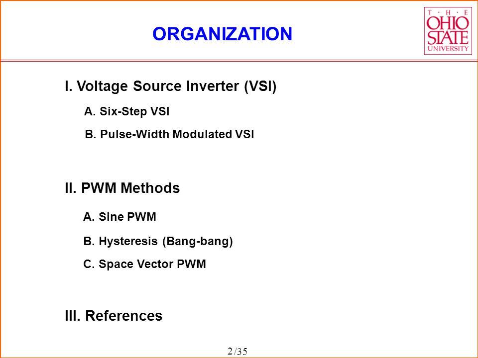 ORGANIZATION I. Voltage Source Inverter (VSI) II. PWM Methods