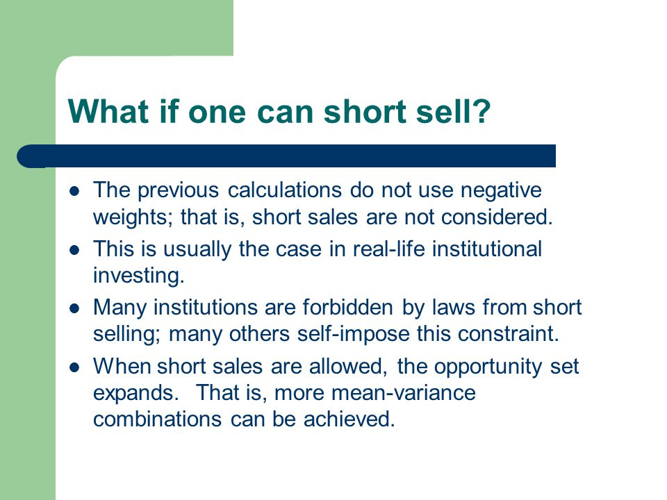 What if one can short sell