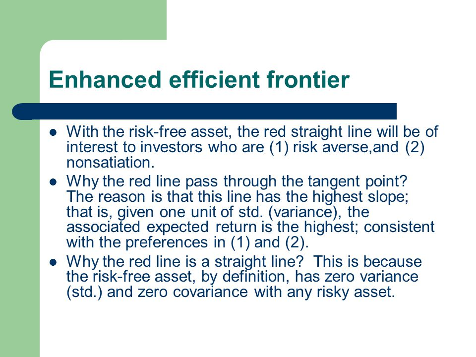 Enhanced efficient frontier