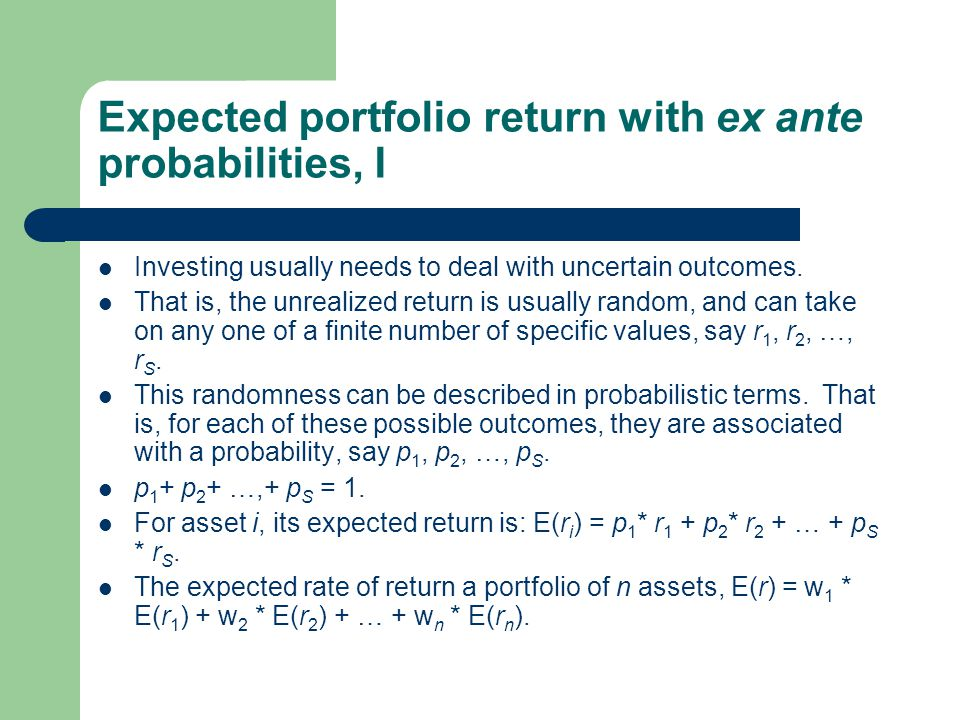 Expected portfolio return with ex ante probabilities, I