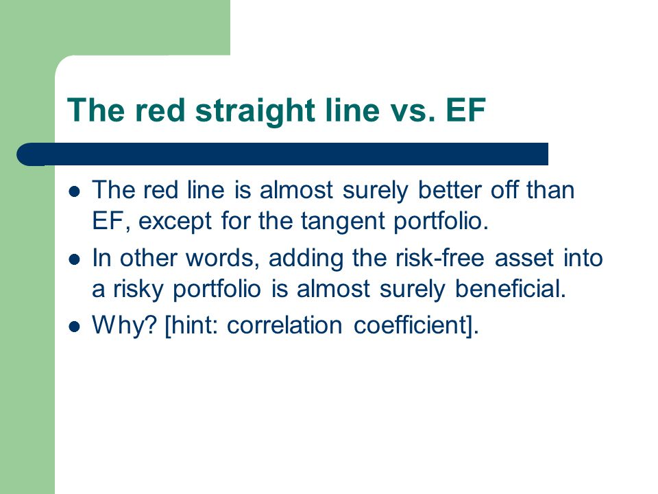 The red straight line vs. EF