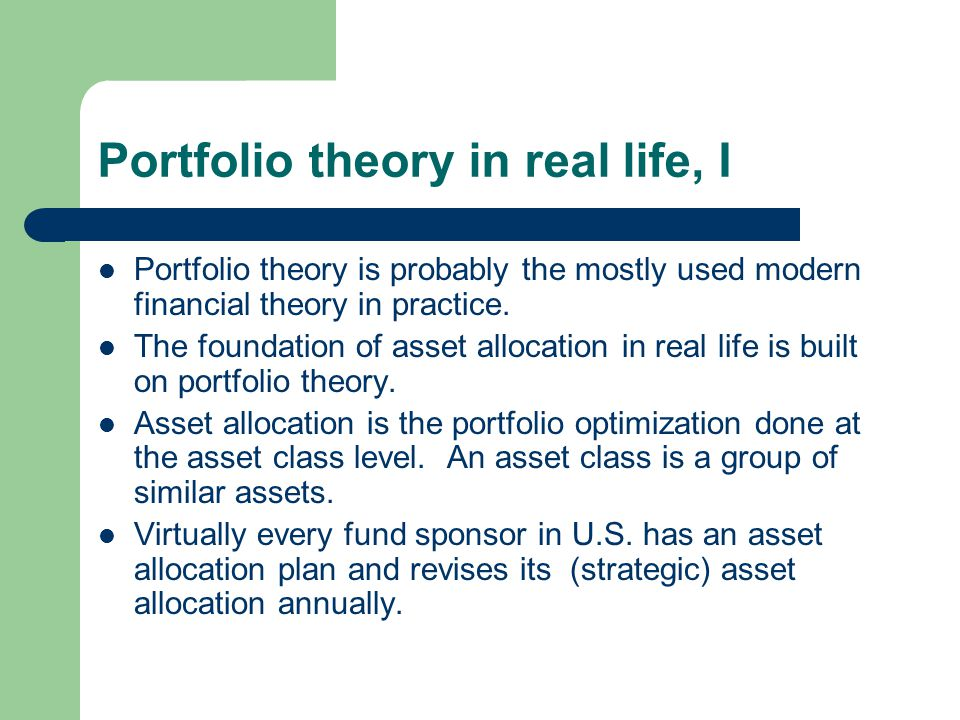 Portfolio theory in real life, I