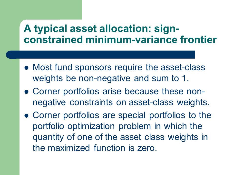 A typical asset allocation: sign-constrained minimum-variance frontier
