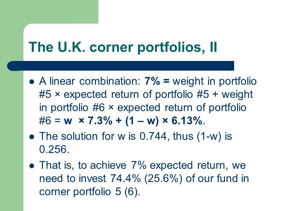 The U.K. corner portfolios, II