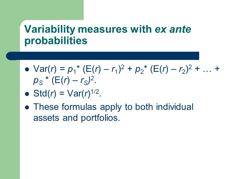 Variability measures with ex ante probabilities