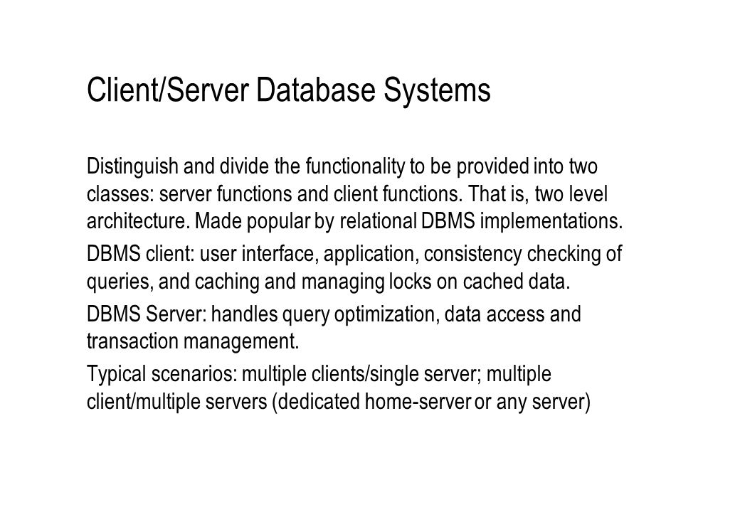 Client/Server Database Systems
