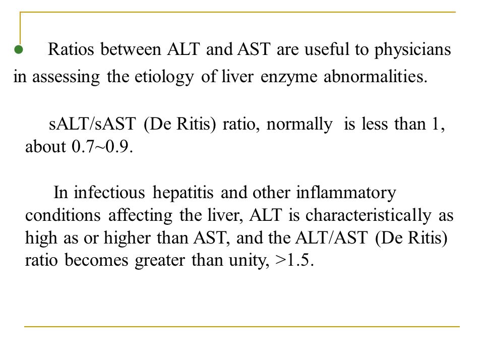Ratios between ALT and AST are useful to physicians in assessing the etiology of liver enzyme abnormalities.