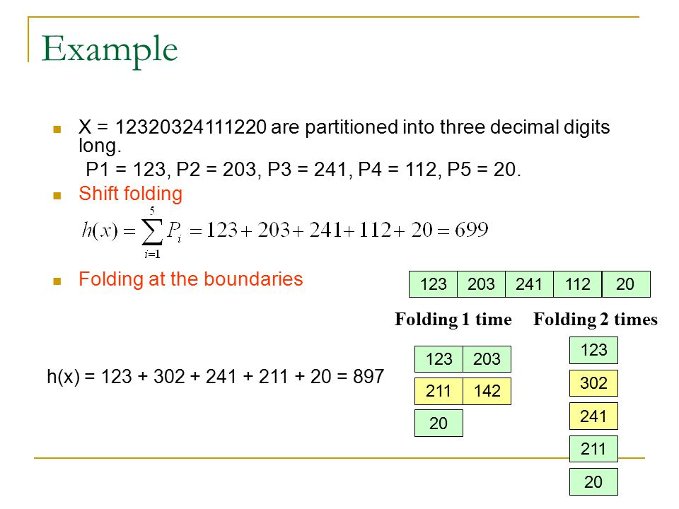 Example X = 12320324111220 are partitioned into three decimal digits long. P1 = 123, P2 = 203, P3 = 241, P4 = 112, P5 = 20.