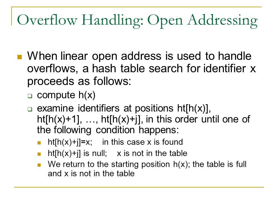 Overflow Handling: Open Addressing