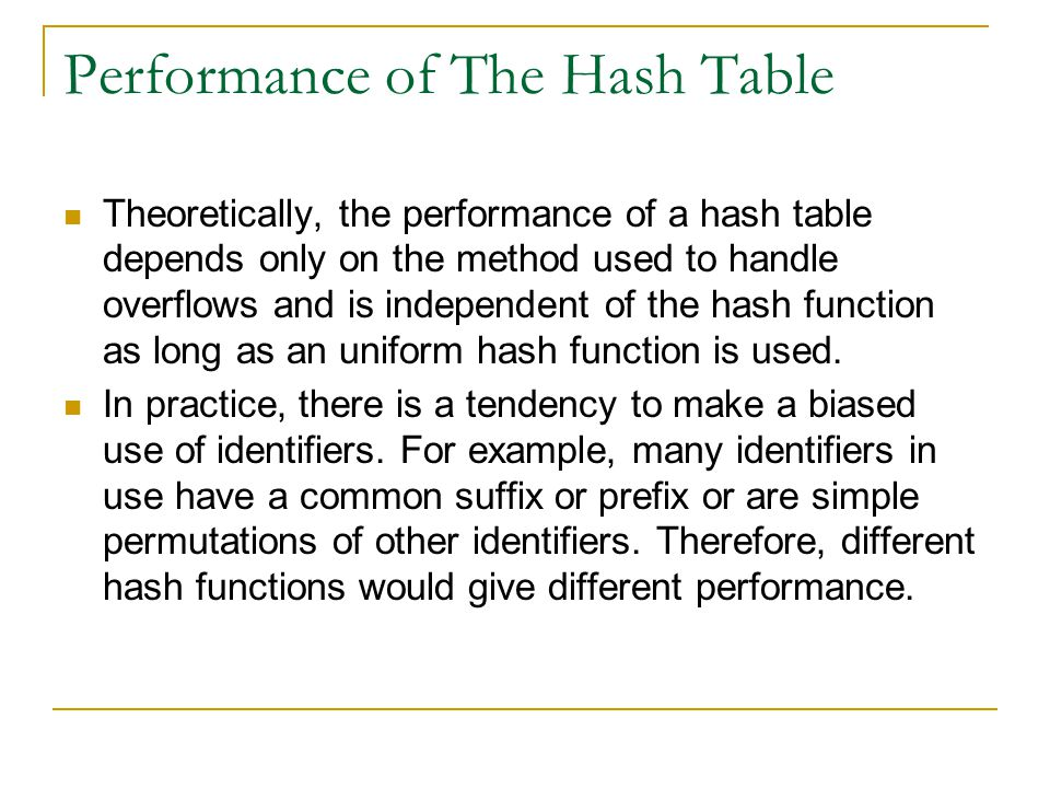 Performance of The Hash Table