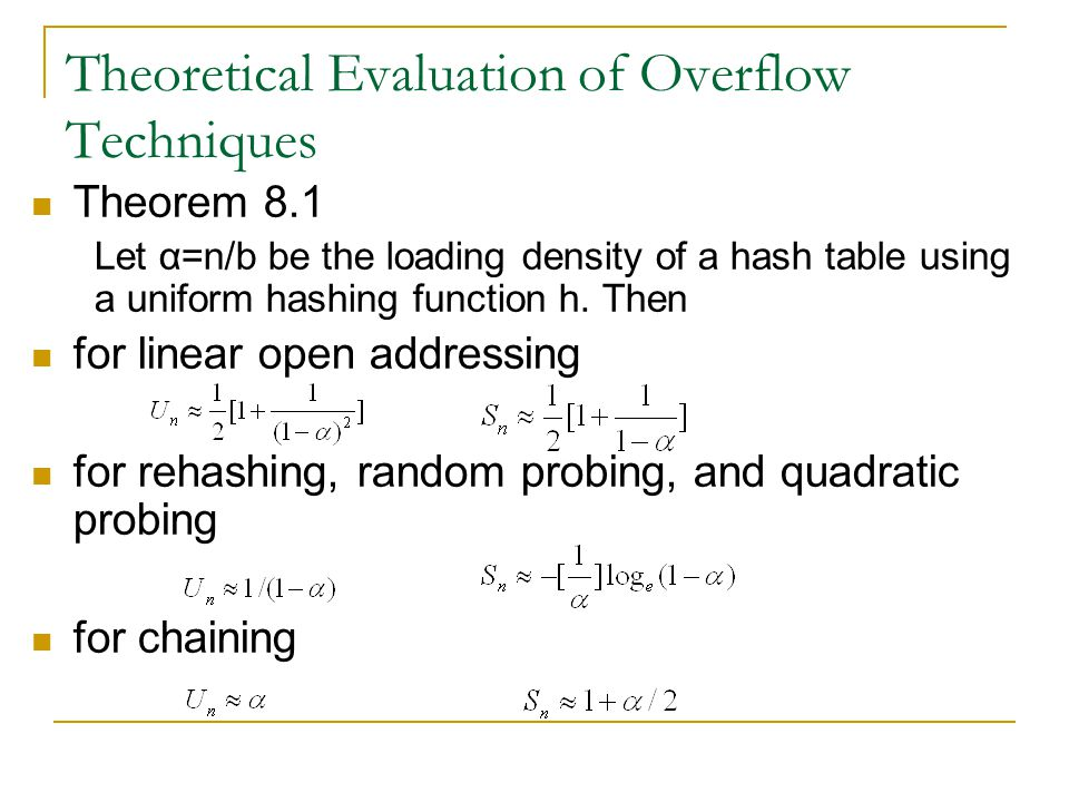 Theoretical Evaluation of Overflow Techniques