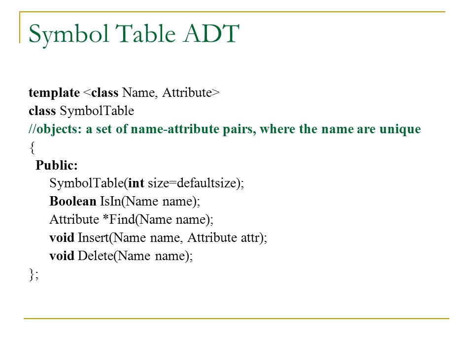 Symbol Table ADT template <class Name, Attribute>
