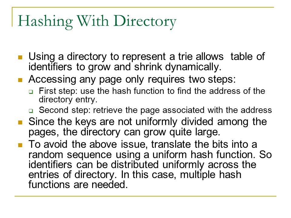 Hashing With Directory