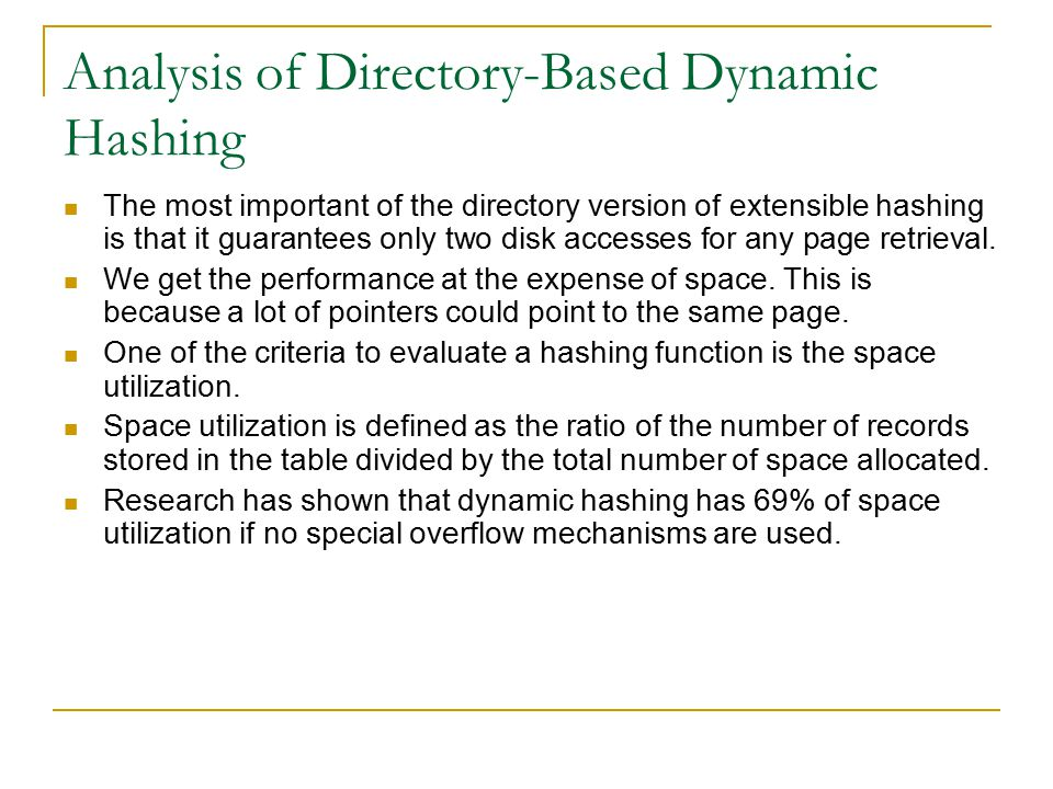 Analysis of Directory-Based Dynamic Hashing