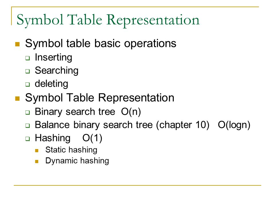 Symbol Table Representation