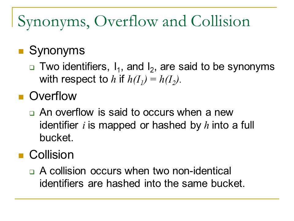 Synonyms, Overflow and Collision