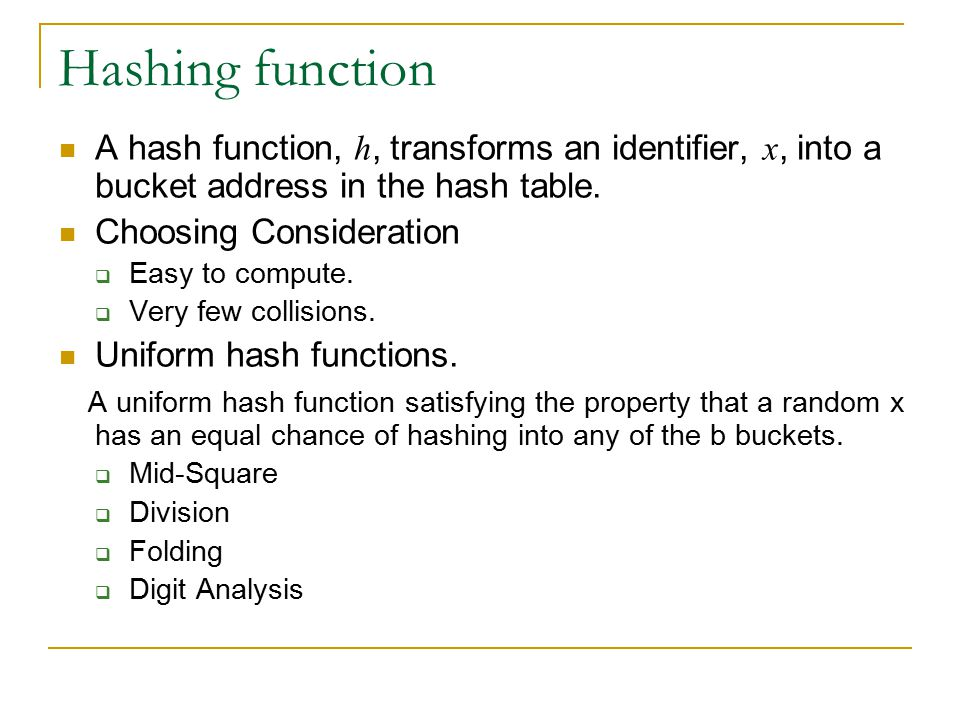 Hashing function A hash function, h, transforms an identifier, x, into a bucket address in the hash table.