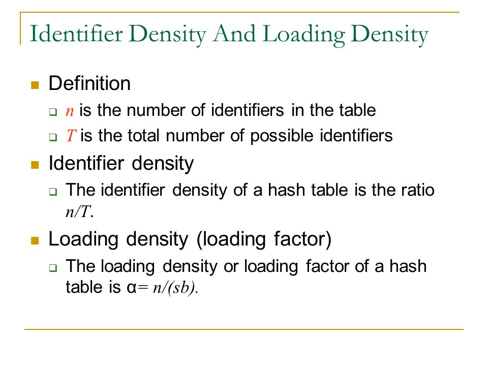 Identifier Density And Loading Density
