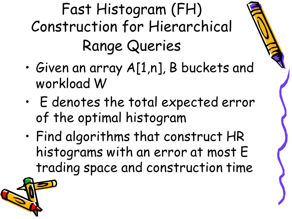 Fast Histogram (FH) Construction for Hierarchical Range Queries