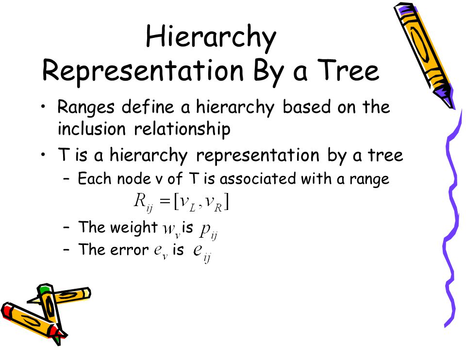 Hierarchy Representation By a Tree