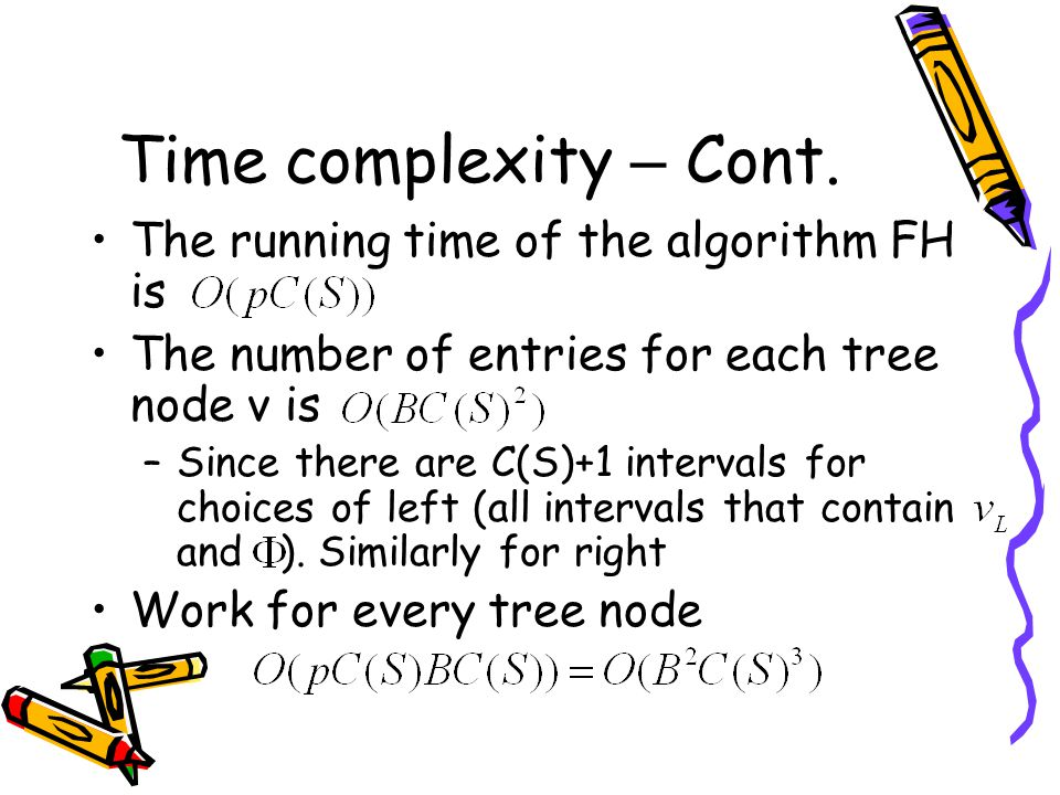 Time complexity – Cont. The running time of the algorithm FH is