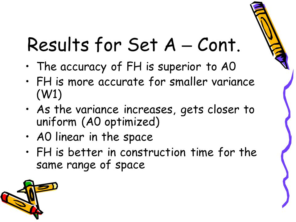 Results for Set A – Cont. The accuracy of FH is superior to A0