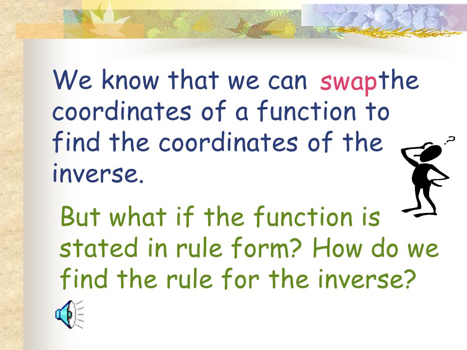 swap We know that we can the coordinates of a function to find the coordinates of the inverse.