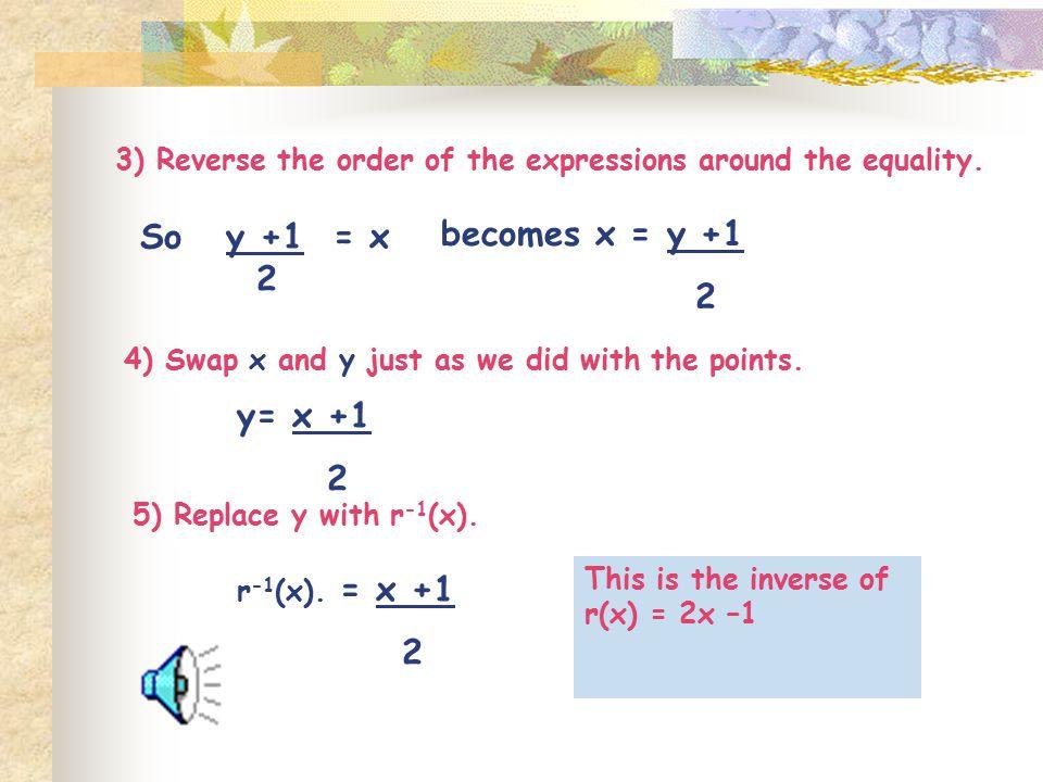 becomes x = y +1 2 y= x +1 2 2 So y +1 = x 2