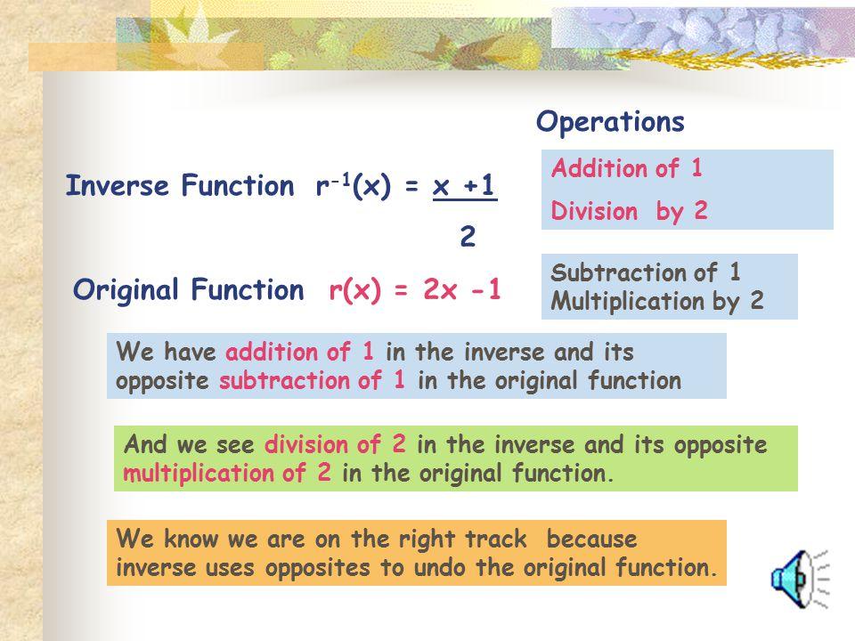 Original Function r(x) = 2x -1